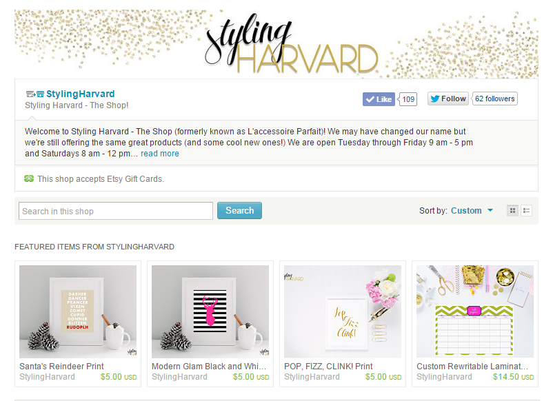 Styling Harvard Etsy Shop